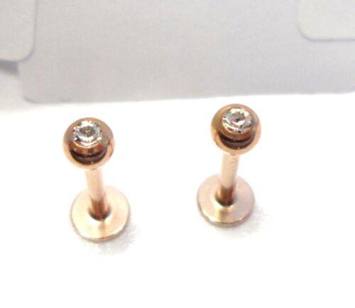 2 Pc Rose Gold Titanium Clear CZ Stud Ring Round Straight Flat Back 16 gauge 8mm