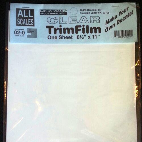 Decal Paper Microscale Clear Trim Film Water-Slide 8.5 x 11 3 Pack 02-0
