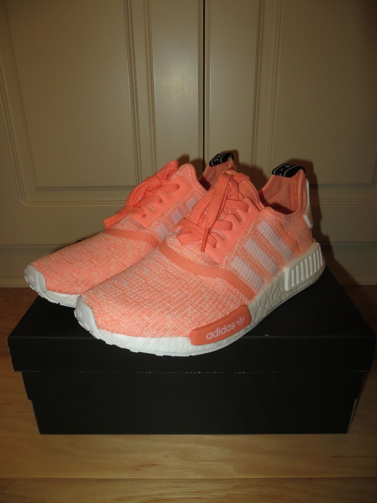 ADIDAS NMD R1 RUNNER SUN GLOW SALMON PINK WHITE RUNNING SHOES BY3034 9 9.5 10