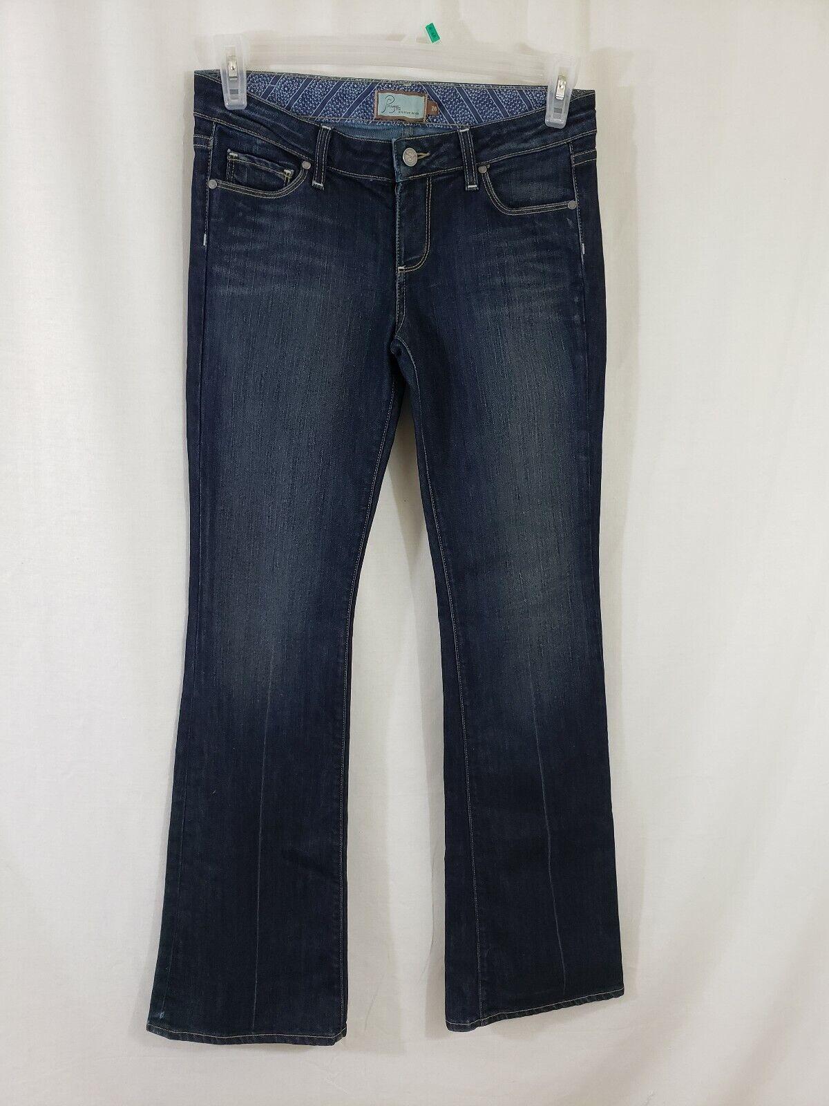 Paige Laurel Canyon Womens Denim bluee Jeans Size 28 x 34 Boot Cut Dark Wash low