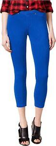 HUE-Original-Stretch-Denim-Capri-Leggings-Sapphire-Blue-Size-XS-42-NWT