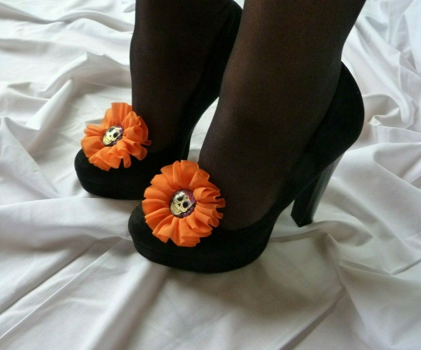 Day of the Dead Marigold Sugar Skull Shoe Clips (pair)
