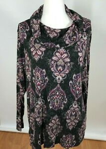 Chicos-Size-3-Knit-Tunic-Top-Long-Sleeve-Womens-XL-Cowl-Neck