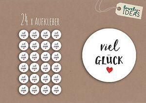 24-x-Geschenkaufkleber-034-Viel-Glueck-034-40mm-weiss-Etiketten-Aufkleber-Sticker