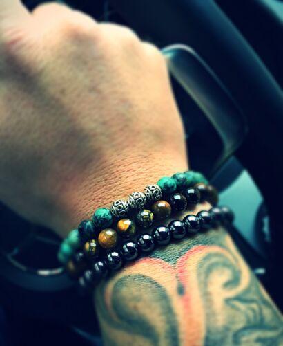 Afrik turquesa verde brazalete pulsera perlas pulsera dorados tiger cabeza 8mm