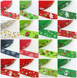 NEW-DIY-5-Yards-1-039-039-25mm-Christmas-Lace-Printed-Grosgrain-Ribbon-Hair-Bow-Craft