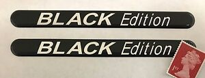 2-x-120mm-Black-Edition-Stickers-Super-Shiny-Domed-Finish-Chrome-Text-on-Black