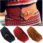 Women Fashion Stretch Wide Leather Waist Belt Lady Pin Buckle Elastic Waistband