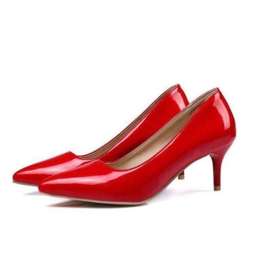 Ladies Patent Leather OL Pumps Mid Heel Pointy Toe Party Court Shoes Formal New