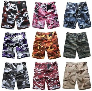 Mens-Army-Military-Combat-Style-Camo-Shorts-Fashion-Casual-Cargo-Shorts