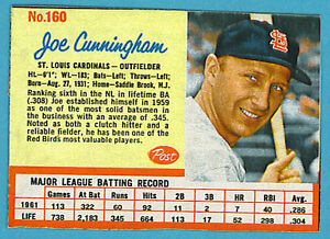 Details About 1962 Post Cereal Baseball Card Single 160 Joe Cunningham Ex