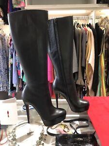 "detailed look f4ea9 79daa Details about Original Receipt*Louboutin Black Leather ""Bianca botta"" 140  Boots, 38"