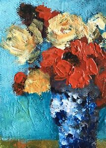 Original-Aceo-ATC-Acrylic-Painting-Floral-Art-Card-Signed