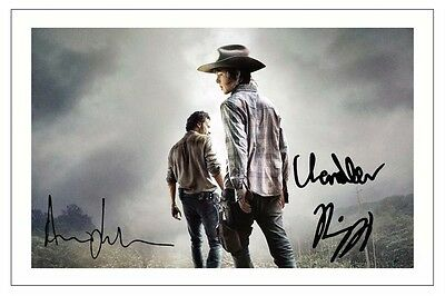 ANDREW LINCOLN + CHANDLER RIGGS THE WALKING DEAD SEASON 5 SIGNED PHOTO PRINT