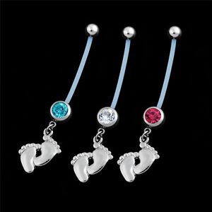 1x-Flexible-Pregnancy-Maternity-Baby-Feet-Boy-Girl-Belly-Bar-Navel-Ring-Piercing