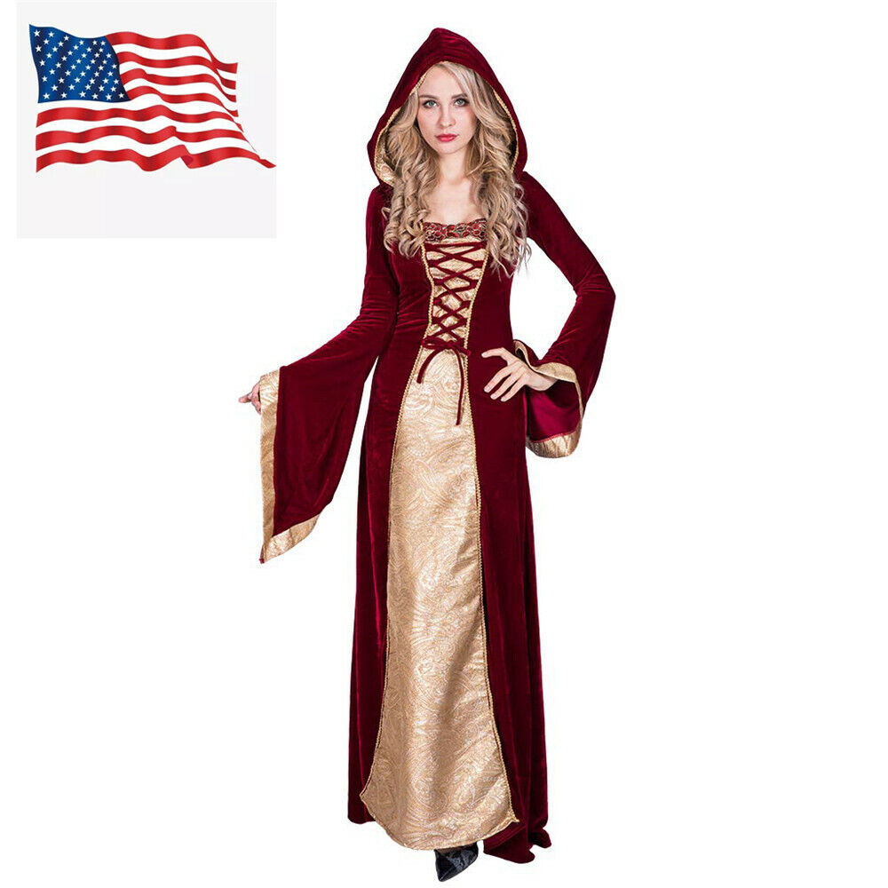 Medieval Robe Thrones Woman Renaissance Queen Dress Princess Costume US
