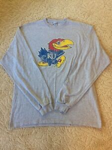 KU-Kansas-University-Jayhawks-Logo-Long-Sleeve-T-Shirt-Men-039-s-Large