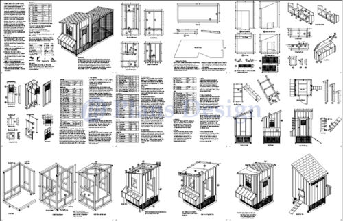 Design #50410LM Hen House 2-in-1 Chicken Coop Plans with Kennel