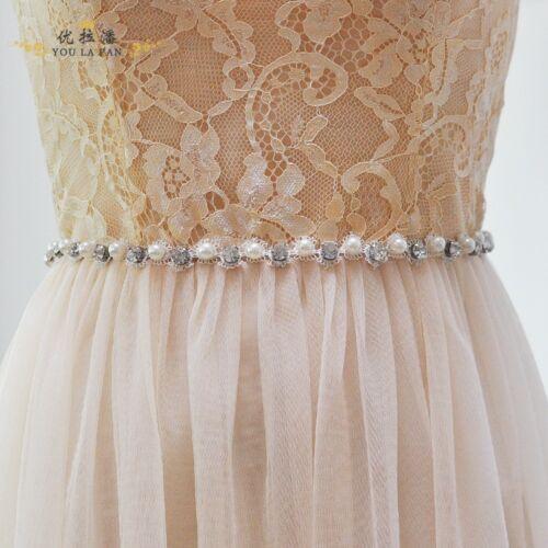 Thin Pearl Crystal Bridal Sash,Bridesmaids Belt,Wedding Dress Sash with Ribbon