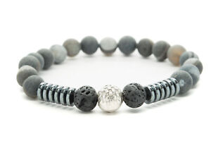 Gray-Agate-Natural-Beaded-Bracelet-Chakra-Healing-Men-Women-DT424