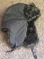Bomber Hat Gray Faux Fur High Quality Usa Seller Fast Free Ship