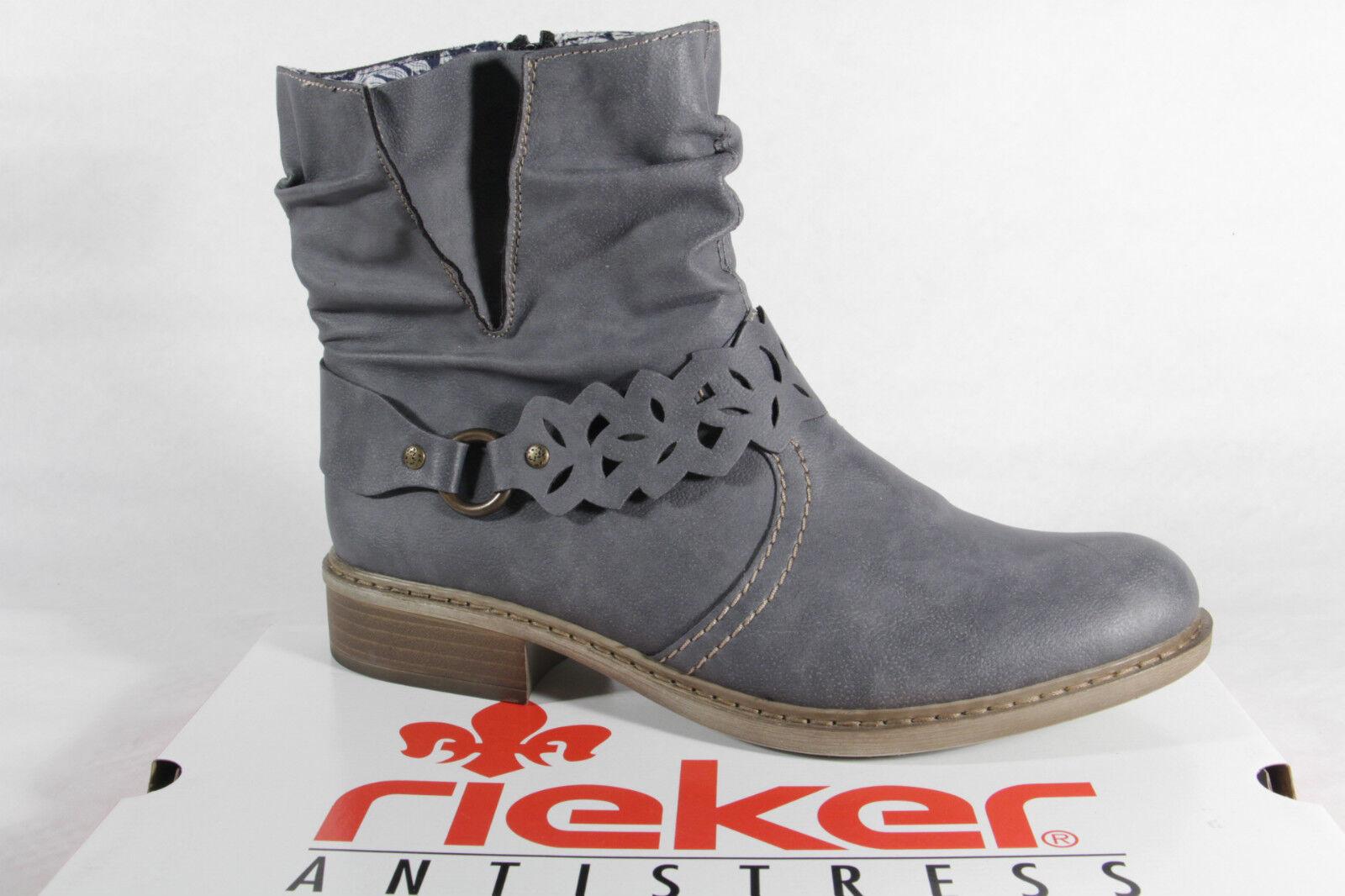 Rieker señora cuero botas siefeletten Boots imitación cuero señora azul nuevo 371d53