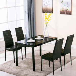 05d0d0abf4743 High Gloss Black Glass Dining Table Set and 4 Faux Leather Chairs ...