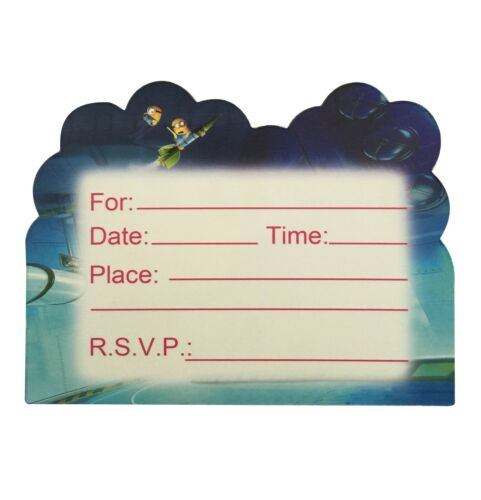 Minions Theme Invite Invitation Card CHILD Birthday Party 1 SET OF 6 Cards UK