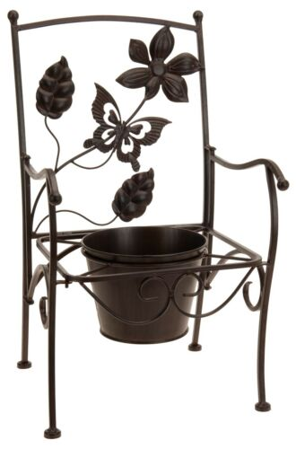 Decorative Metal Bench Garden Plant Pot Holder Flower Holder Metal Chair Plant