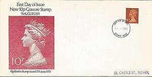 GB 1971 10p Gravure Stamp '10p Recess Stamp Issued 1970' Dover FDI FDC Cover