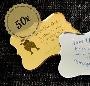 50x-Gold-Silver-Mirror-Acrylic-Wedding-Save-the-Date-Ornate-Style-w-Magnet