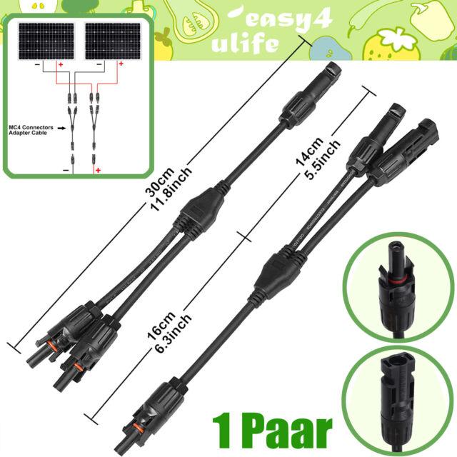 1 Paar MC4 Y Stecker Verteiler Buchse für Solarpanel Solarkabel