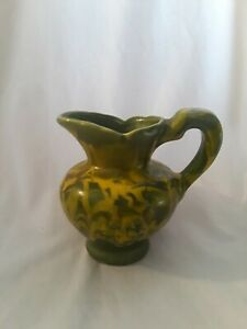Mid-Century-Olive-Green-Drip-Glazed-Grape-Pattern-Pitcher-Handmade-Pottery-5-25-034
