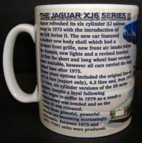 WITH HISTORY ON REVERSE JAGUAR XJ6 SERIES 2 II CLASSIC CAR MUG LIMITED EDITION