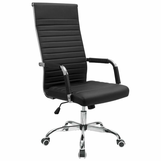 Modern Premium Office Chair High Back PU Leather Ribbed Executive Heavy Duty