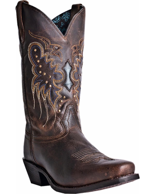 Para mujer botas Larojoo Cora occidental dedo del pie cuadrado 52034 Med