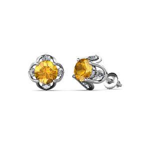 Citrine-and-Diamond-Womens-Tulip-Stud-Earrings-1-04-ctw-14K-Gold-JP-84999