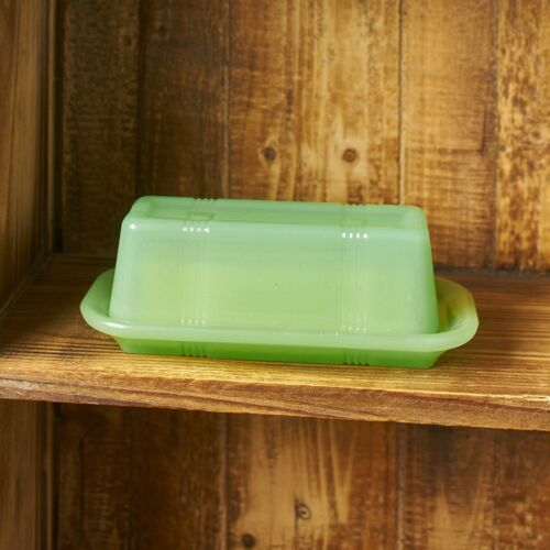 Jade Green Glass Butter Dish Vintage Country Kitchen Serving Accents