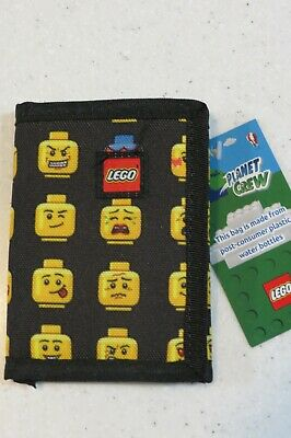 NEW LEGO Minifig Wallet Heads Pattern Canvas Feel Kid Boys Girl Trifold Tri fold