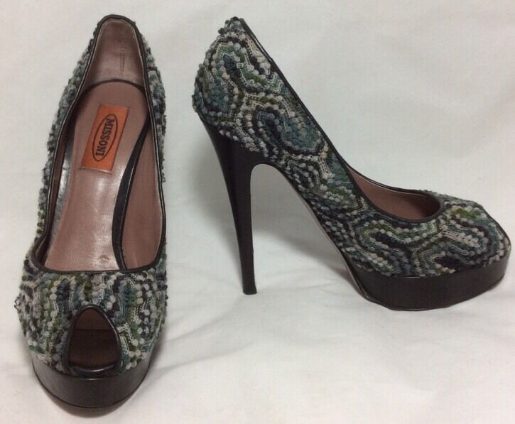 Pre-Loved Missoni Italian Fabric High Heeled peep Toe Platform Heels Größe 37