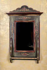 Landhaus Spiegel Wandspiegel Holz Bauernschrank Antik Stil Flur Diele Grün