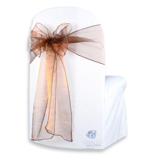 "Brown 10 pcs Organza Chair Cover Bow Sash 108/""x8/"" Wedding Party Banquet nh"