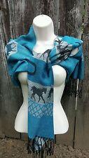 Pashmina Cashmere & Silk Scarf Wrap Shawl Turquoise & Gray Horse Shoe Pashima