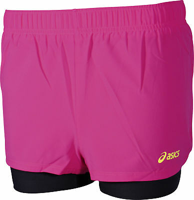Asics 2 In 1 Womens Running Shorts - Pink