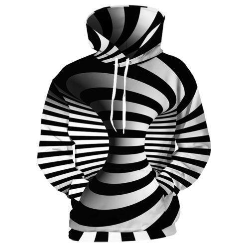 Punk Women//Men Hypnosis Swirl  Wolf 3D Print Casual Hoodie Sweatshirt Pullover