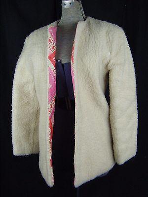 Angemessen Vtg 60-70s Creme Kunst- Schur Jacke / Rot/pink Gesteppt Lined-bust 37/2xs-xs Wasserdicht, StoßFest Und Antimagnetisch