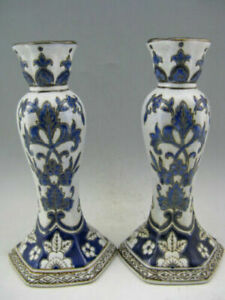 Antique-a-pair-Old-Chinese-Porcelain-Hand-Painted-Candle-Stand