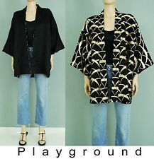 Vintage black gold brocade reversible Asian kimono statment jacket
