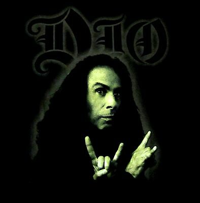 DIO cd lgo RONNIE JAMES DIO GREEN PHOTO Official SHIRT MED black sabbath