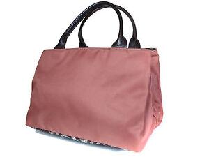 41eda0735fb4 Auth BURBERRY LONDON BLUE LABEL Nylon Canvas Leather Pink Hand Bag ...